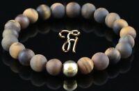 Tigerauge matt 925er sterling Silber vergoldet Armband Bracelet Perlenarmband