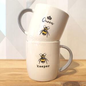 Set of 2 His & Hers Ceramic Bumble Bee Mugs in Gift Box Coffee Tea Cup Wedding