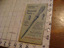 Vintage TOOL Catalog: catalogue & price list DIAMOND TOOLS 1924, 20pgs