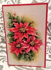 Vintage Candles Poinsettia Evergreens Christmas Wish Mid Century Card Envelope