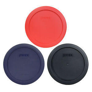 Pyrex 7201-PC 4 Cup Black, Blue and Red Round Replacement Lid 3PK for Glass Bowl