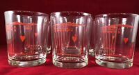 Vintage Set Of Six Poker Glasses MCM Low Ball Red Hearts Royal Flush