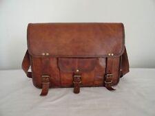 Vintage Leather Messenger Bag 17 Inch Laptop Office College School Shoulder Bag