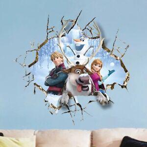 Kristoff Olaf Anna Princess Broken Hole Frozen Wall Sticker For Home Vinyl Decal