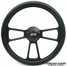 "1969 - 1989 Chevrolet Camaro SS 14"" Black Billet Steering Wheel Set w/ Adapter"