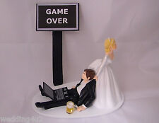 Wedding  Reception Party ~Laptop Computer~ Beer Mug Drunk Nerd Groom Cake Topper