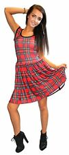 WOMENS RED TARTAN ROCKABILLY SWING SLEEVELESS DRESS GOTH PUNK EMO