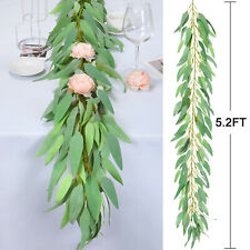5.2Ft Artificial Greenery Garland Faux Silk Eucalyptus Vine Wreath Wedding Decor