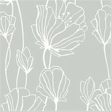 White Silhouette Floral on Shiny Silver Wallpaper BW28738