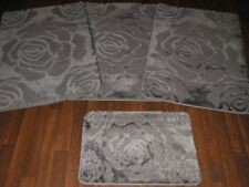 ROMANY WASHABLE GYPSY MATS 4PC SETS SUPER THICK NON SLIP LARGE DARK GREYS