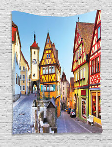 German Tapestry Colorful Street Houses Print Wall Hanging Decor