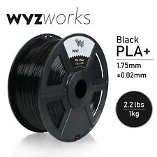 Black PLA 1.75mm WYZworks 3D Printer Premium Filament 1kg/2.2lb