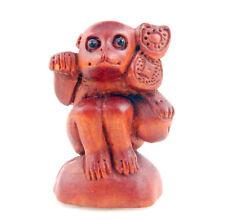 Boxwood Hand Carved Netsuke Sculpture Miniature Monkey Holds Ru-Yi #12261503