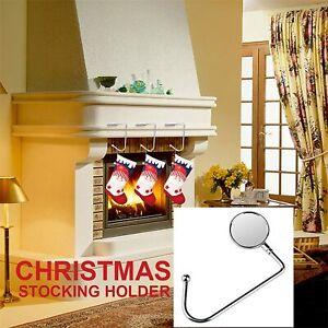 4 Stocking Holder Metal Hook Hanger Christmas Safety Hang Grip Stocking Clips