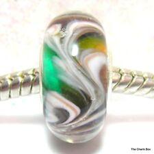 'JADE AUTUMN'  Green/Amber Murano Glass European Charm-Single Core