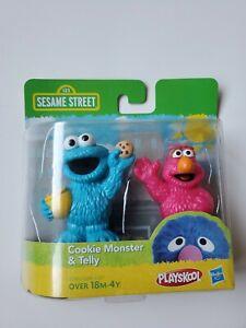 """NEW Playskool Sesame Street Cookie Monster & Telly 3"""" PVC Figures Set in box!"""