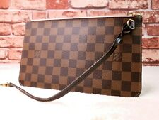 Authentic Louis Vuitton Damier Ebene Neverfull Pouch / Clutch with Pink Interior