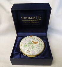 """CRUMMLES Enamel Trinket Box Hand Painted England X Lg. LE 2 5/8"""" X 1.5"""" Orig Box"""