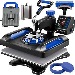 VEVOR Machine Impression Textile Presse à Chaud Chaleur Bleue 6 en 1 29x38cm