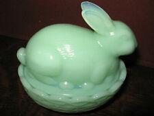 Jadeite green milk glass bunny rabbit on nest basket butter dish Easter egg jade