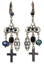 £50 Baroque Gothic Gold Black Pearl Drop Earrings Swarovski Elements Crystal
