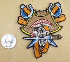 """Pirate Skull Brown Hat With Dagger In Teeth Iron-On / Sew-On Patch 3""""X 3 1/2"""""""