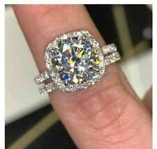 Certified 2.50 ct White Moissanite Wedding Engagement Ring Set in 14K White Gold