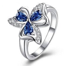 Elegant 925 Sterling Silver Blue Sapphire White Topaz Engagement Ring Size: 10