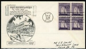 United States 1957 350th Anniversary Of Shipbuilding FDC -  Used/Addressed
