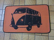 Retro Camper van short pile rug / mat non slip gel back orange black brand new