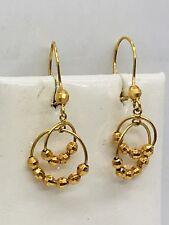 18K Solid Yellow Gold Ball Circle Diamond Cut Dangling Hoop Earrings 1.79gr