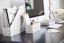 Blu Monaco 4 Piece Retro Gold Dots Desk Organizer Set