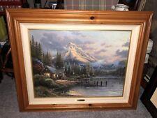 """""""Lakeside Hideaway"""" Signed Thomas Kinkade (2493/2950) 18x24 Canvas w/ COA ($995)"""