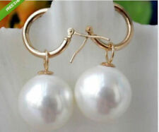 Hot HUGE Round AAAA 16mm White South Sea Shell Pearl 14k Gold Earrings