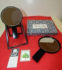 Vintage Japanese Double Hand Mirror With Stand Magnifying & Normal Black Lacquer