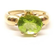 10K Gold Peridot Cocktail Ring Sz 8.75 Estate Signed MEDA August Birthstone