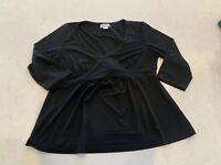 Motherhood Maternity XL Black Blouse Shirt Top Long Sleeve Career