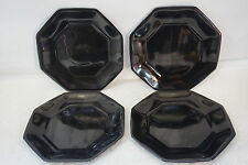 ARCOROC FRANCE OCTIME BLACK GLASS SALAD PLATES SET 4 VINTAGE OCTAGON NOVOTIME