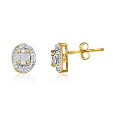 14k Yellow Gold White Topaz Earrings with Diamonds