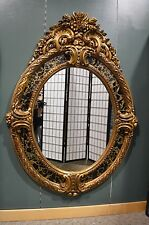 Very Ornate Baroque Style Black & Gold Oval Wall Mirror w/Painted Glass Panels