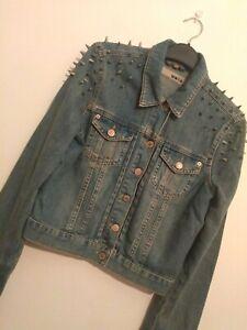 TOPSHOP MOTO Blue Denim Long Sleeved Cropped Studded Jacket Size UK 10 Punk Rock
