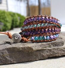 Purple and Green Agate Gemstone Beaded Four Wrap Brown Leather Bracelet