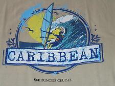 T-SHIRT PRINCESS CRUISES CARIBBEAN LINE SHIP OCEAN LINER S SM SMALL TAN BEIGE