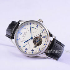 43mm Parnis Automatic Power Reserve Mens Watch White Dial Genuine Leather Strap