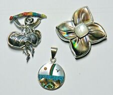 Mop flower , Mexican rainbow inlay Vintage 925 Silver - Peruvian dancer brooch,