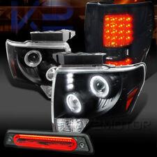 09-14 F150 Black Halo Projector Headlights+Smoke LED Tail Lamps+LED 3rd Brake