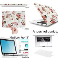 "3IN1 Flower Hard Case Keyboard Screen Cover For NEW Macbook Pro 13 15""+Touch Bar"