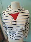 Vtg Women's L Striped Patriotic RWB Terry Cloth Sweatshirt Pullover Crop Hoodie