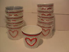 Red Heart Love Container Lot Of 10~New~Gloss White Tin With Red Rhinestone Heart