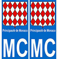 Autocollant Monaco principauté plaque immatriculation auto MC monaco